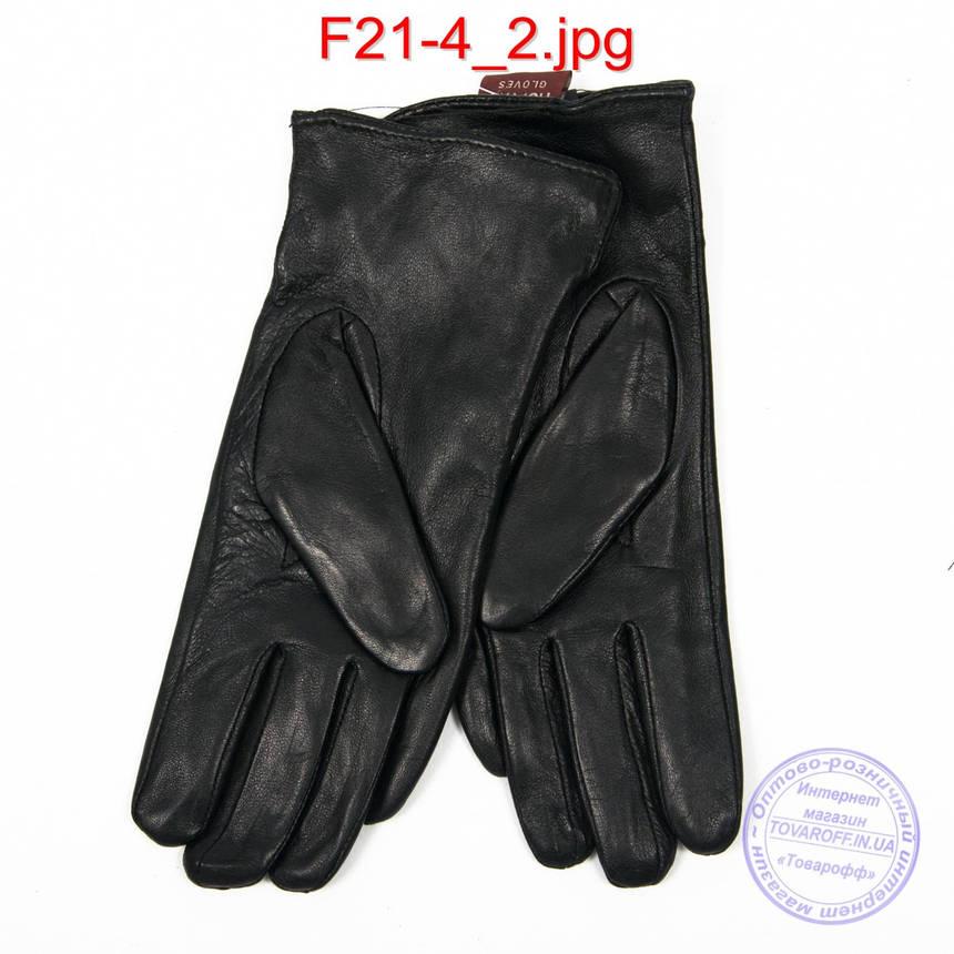 Оптом жіночі шкіряні рукавички на плюше - F21-4, фото 2