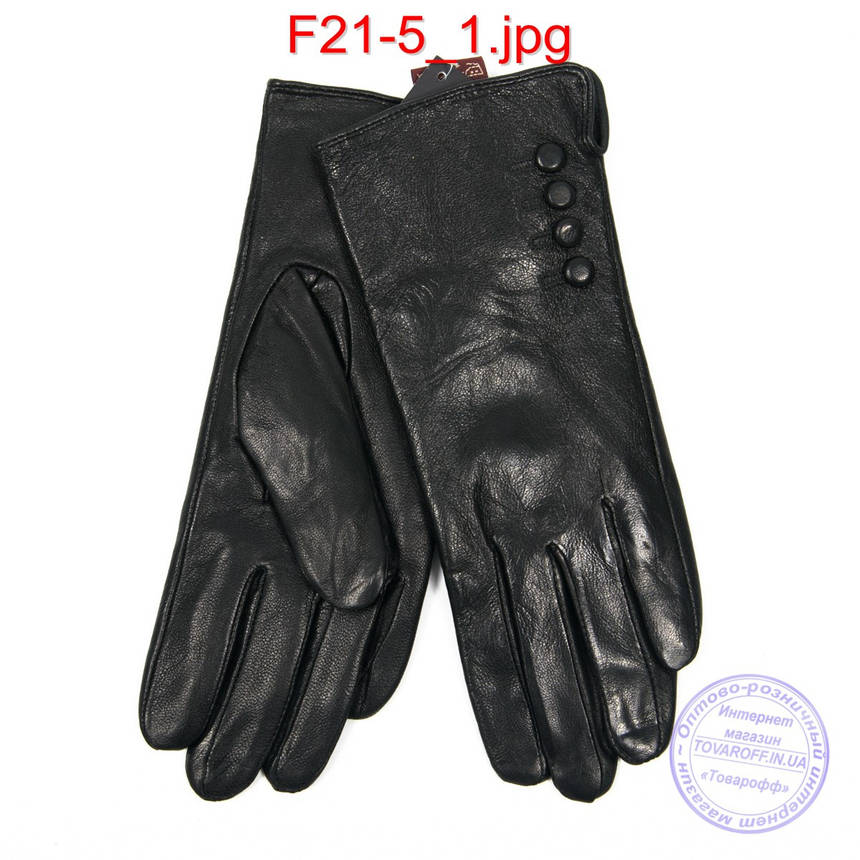 Оптом женские кожаные перчатки на плюше - F21-5, фото 2