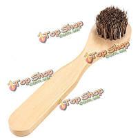 Чистый конский волос щетки для чистки обуви полировки мазилка кисть деревянная ручка