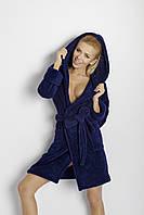 Махровый халат Diana короткий TM Dkaren (Польша) Цвет темно-синий