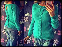 Женский теплый вязанный свитер с элементами коса (7 цветов)