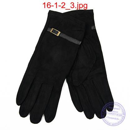 Оптом жіночі велюрові рукавички з плюшевим утеплювачем - №16-1-2, фото 3