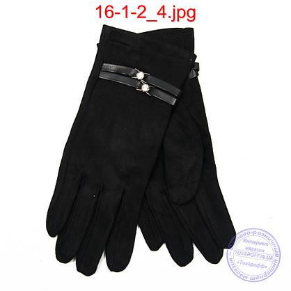 Оптом жіночі велюрові рукавички з плюшевим утеплювачем - №16-1-2, фото 2