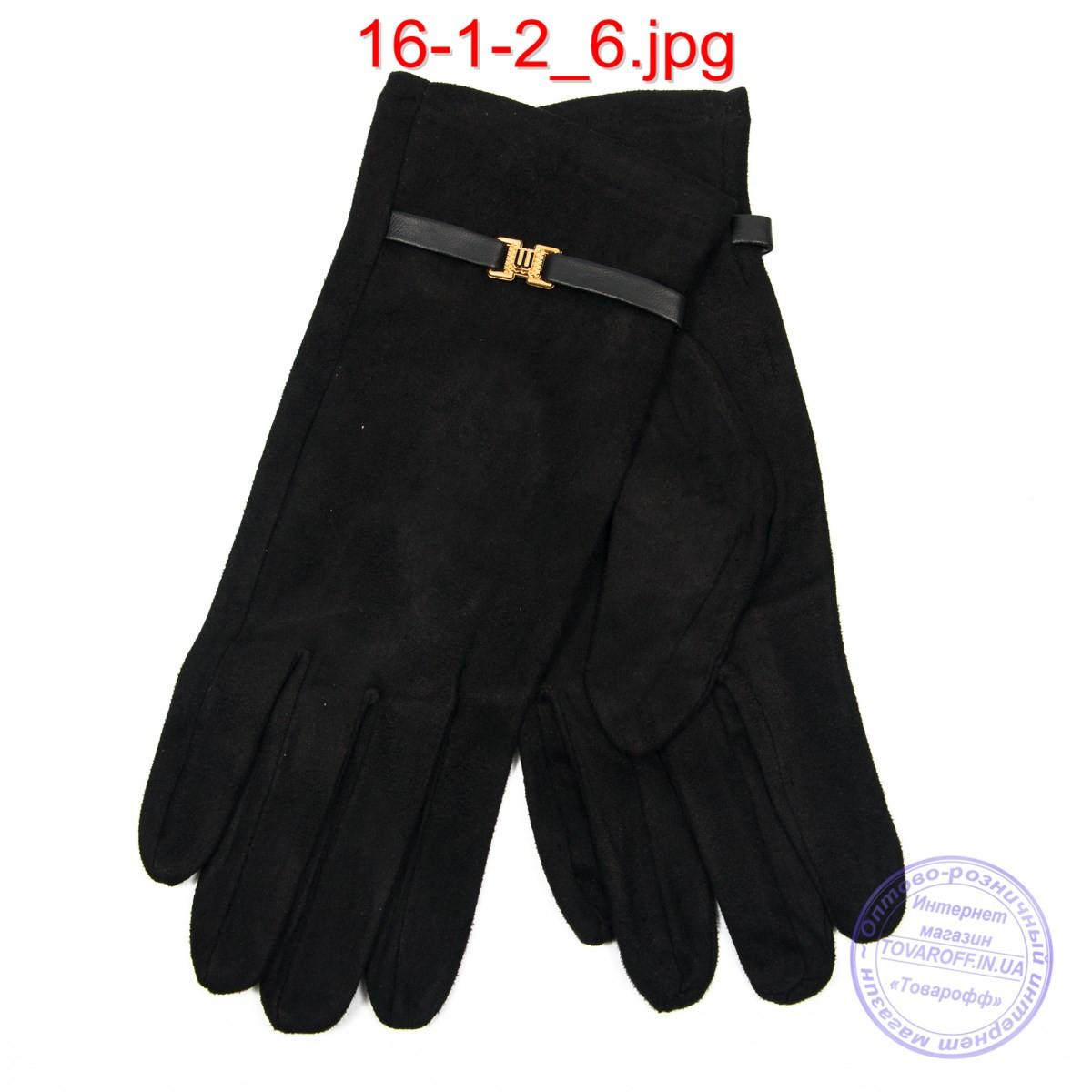 Оптом жіночі велюрові рукавички з плюшевим утеплювачем - №16-1-2