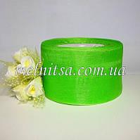 Лента из органзы, 5 см,  цвет cв.зеленый