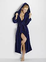 Длинный мягусенький махровый халат Diana TM Dkaren (Польша) Цвет темно-синий