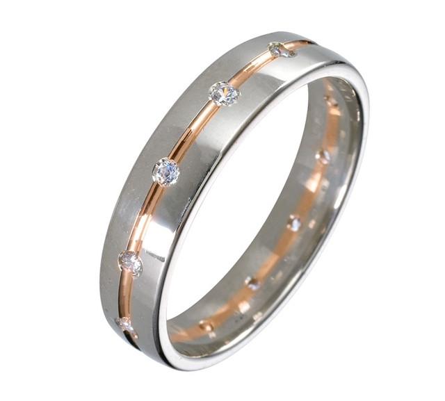 Серебряные обручальные кольца со вставками золота