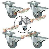 4шт 50мм тяжелые тележки мебель резиновые поворотные касторовое колесо с тормозом