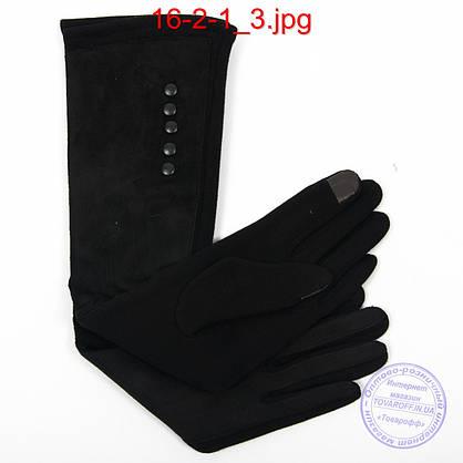 Оптом довгі велюрово-трикотажні рукавички з плюшевим утеплювачем і сенсорними пальчиками 45см - №16-2-1, фото 3