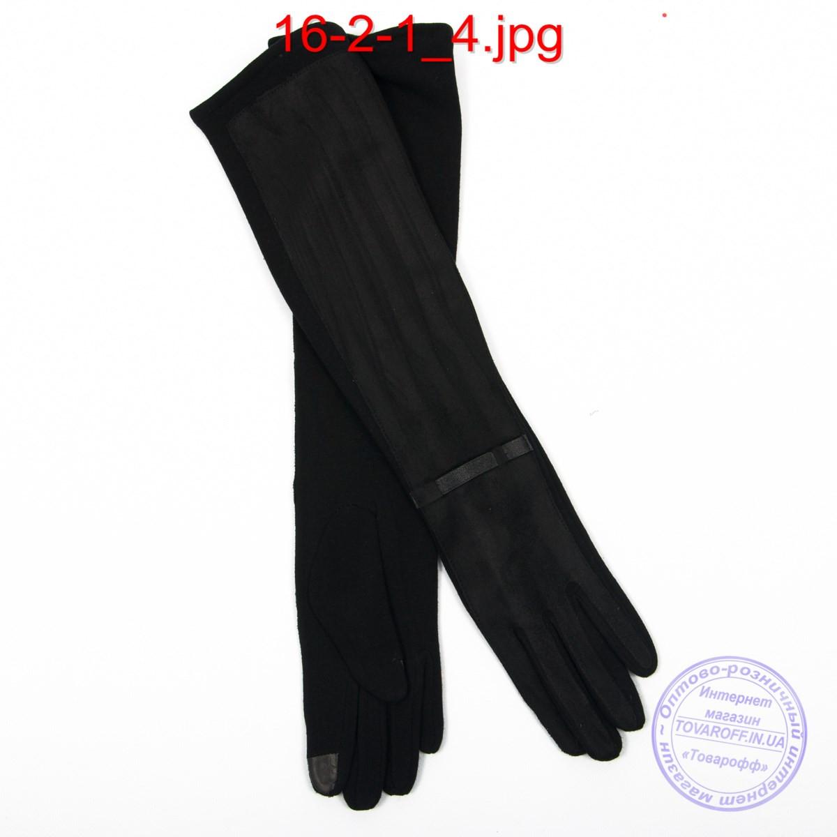 Оптом довгі велюрово-трикотажні рукавички з плюшевим утеплювачем і сенсорними пальчиками 45см - №16-2-1