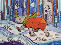 """Открытка """"Носорожка в зимнем лесу"""""""