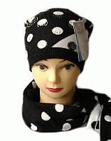 Комплект женский вязаный шапка и шарф Milan шерсть натуральная цвет черный