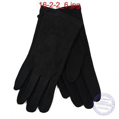 Оптом женские трикотажно-велюровые перчатки с плюшевой подкладкой - №16-2-2, фото 3