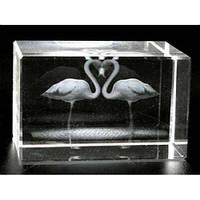 Фигурка Фламинго голограмма в хрустале