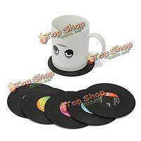 6шт виниловая пластинка горки кружка кофе чашка держателя мат ретро столовых
