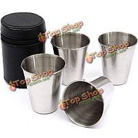 4шт чашки из нержавеющей стали для напольного пикника кемпинг