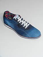 Джинсовые мокасины-кроссовки мужские синие на шнурках размеры 40-44 Bumerics Турция
