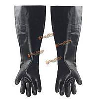1 пара черных длинные промышленные работы резиновые перчатки анти-кислоты химически стойкие