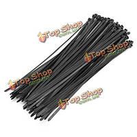 100шт 300 × 5мм черный нейлоновые кабельные стяжки провод обертка ремешок