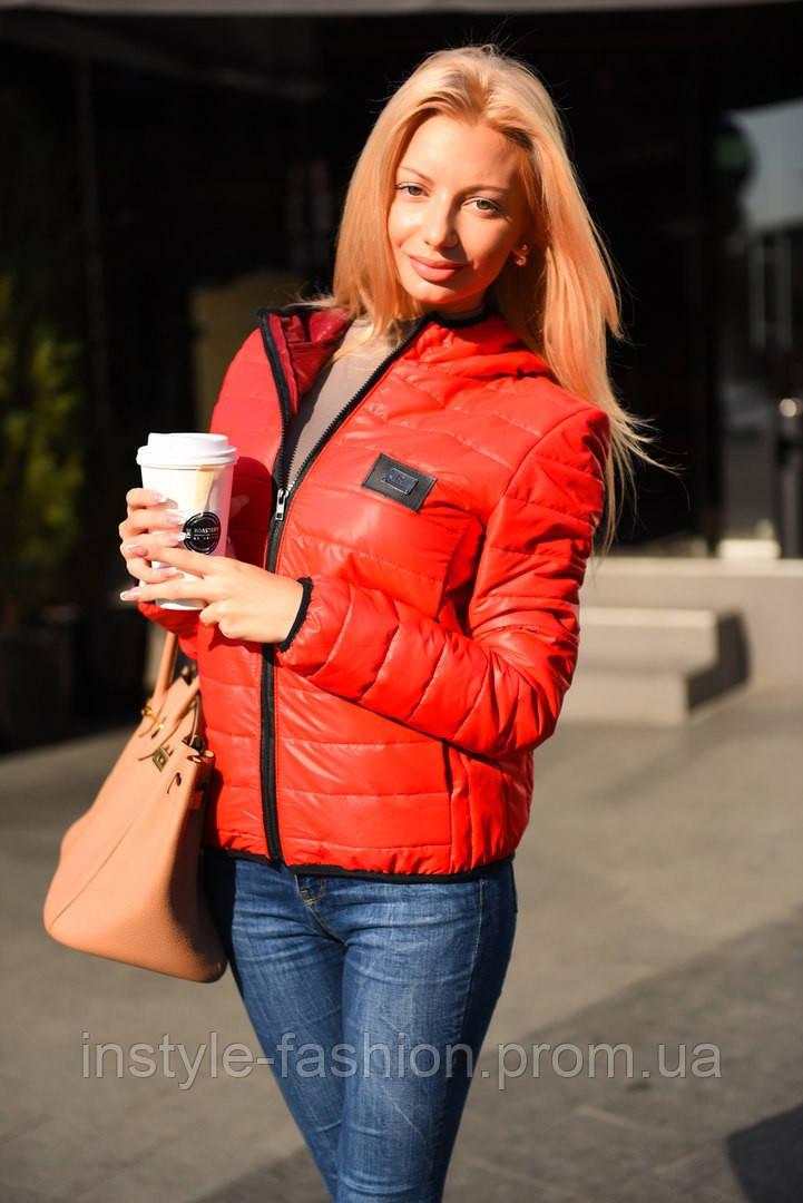 0a3a0da7abf2 Женская демисезонная куртка ткань плащевка на синтепоне цвет красный ...
