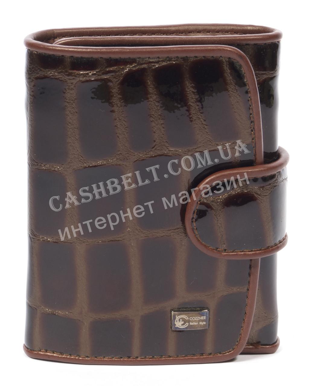 Лаковый женский кожаный кошелек высокого качества COZZNEE art. 38305 коричневый