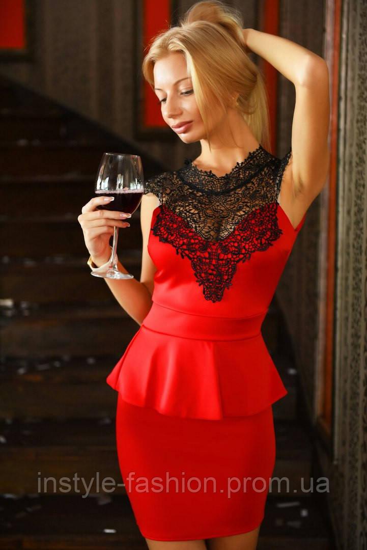 Женское платье баска с кружевом ткань дайвинг цвет красный