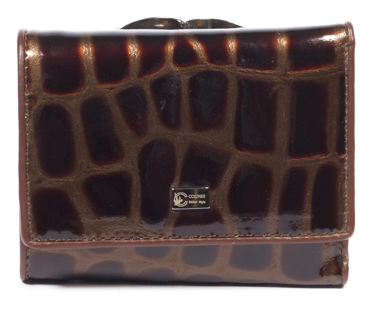 Лаковый женский кожаный кошелек высокого качества COZZNEE art. 38511 коричневый