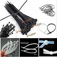 100шт нейлона застежка-молния отделка обруча кабель замка петля связи провода самонесущего