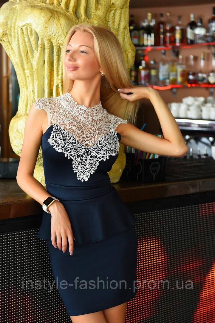 Женское платье баска с кружевом ткань дайвинг цвет черный