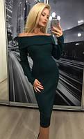 Женское приталенное платье с отворотом по колено