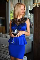 Женское платье баска с кружевом ткань дайвинг цвет синий