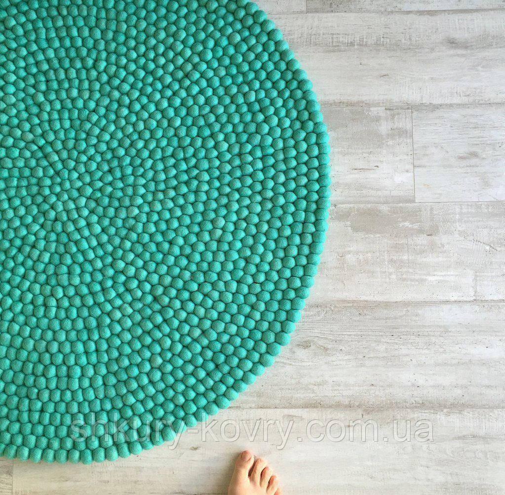 Ковер для дома из шерстяных шариков бирюзового цвета