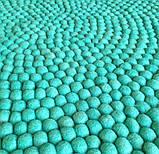 Ковер для дома из шерстяных шариков бирюзового цвета, фото 2