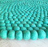 Ковер для дома из шерстяных шариков бирюзового цвета, фото 3