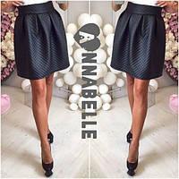 Стеганная кожаная юбка