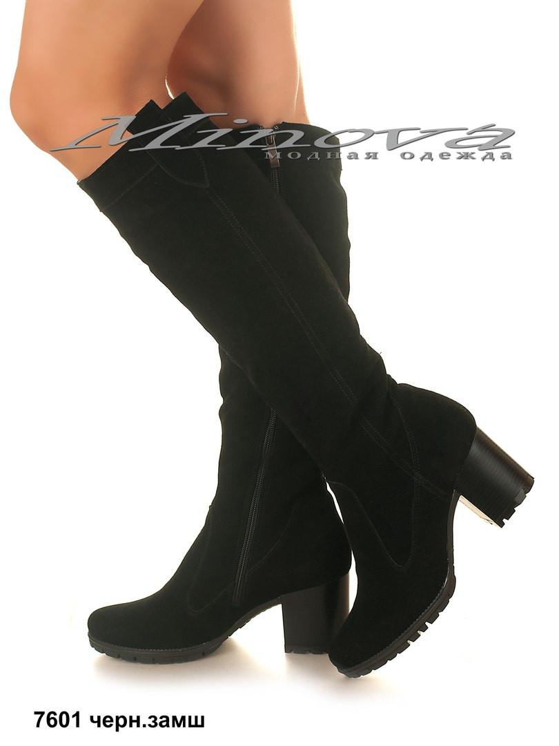 Демисезонные женские черные замшевые сапоги на каблуке (размеры 35 ... 2d054623a79