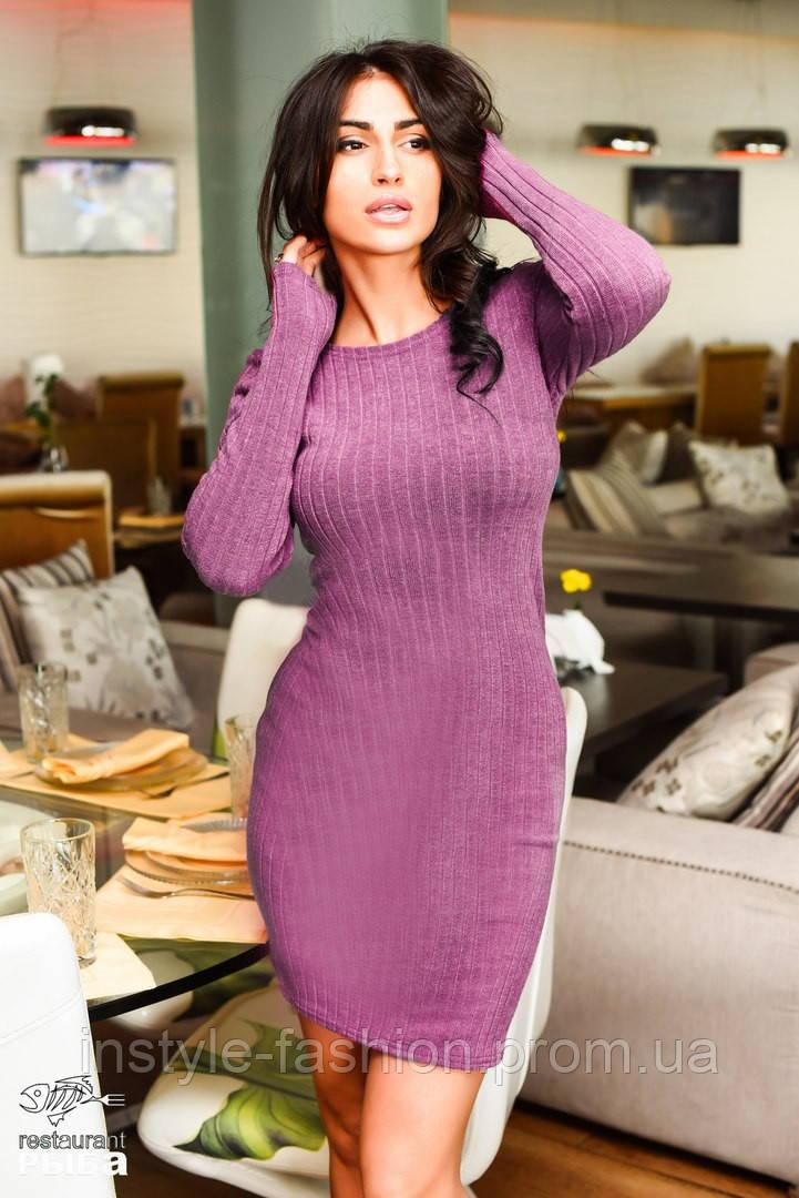 Женское короткое платье ангора рубчик сиреневое