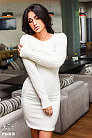 Женское короткое платье ангора рубчик молочное