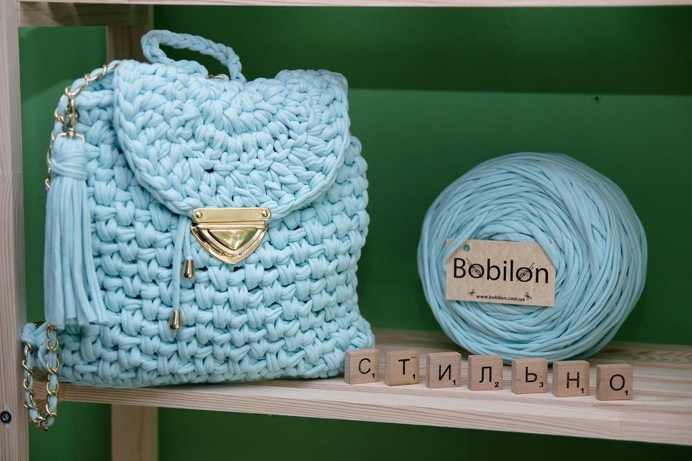 вязаный рюкзак крючком из трикотажной пряжи ментолового цвета