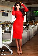 Женское платье миди ангора рубчик цвет красный