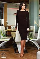 Женское платье миди ангора рубчик цвет черный