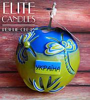 Патриотическая Резная свеча в форме шара №3016, с гербом Украины, национальных цветов