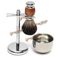 Комплект бритвы чисто барсука влажное бритье щетка с кружкой миску и стоять набор бритье бритвы