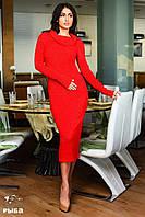 Женское платье хомут на плечи ангора рубчик цвет красный