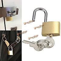 3шт Mini латунь висячие замки пусковой площадки чемодан багаж путешествие с 2-мя ключами в замке