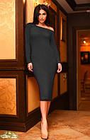 Женское платье с манжетом спускающимся на плечо ткань ангора черное