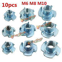 10шт m6 m8 m10 синий цинка мозаики доска орех четыре когти гайка инкрустированные мебель