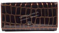 Оригинальный лаковый женский кожаный кошелек высокого качества COZZNEE art.38415 коричневый