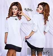 Молодежное трикотажное белое платье с черными вставками  . Арт-2419/66