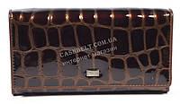 Оригинальный лаковый женский кожаный кошелек высокого качества COZZNEE art.38602 коричневый